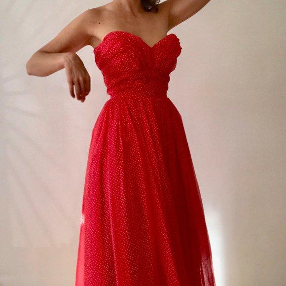 Vintage Strapless Midi Polka Dot Dress 50s